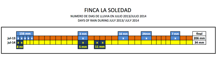 La Soledad farm: Daily rain July 2013-2014 (Courtesy of Raul Pérez)